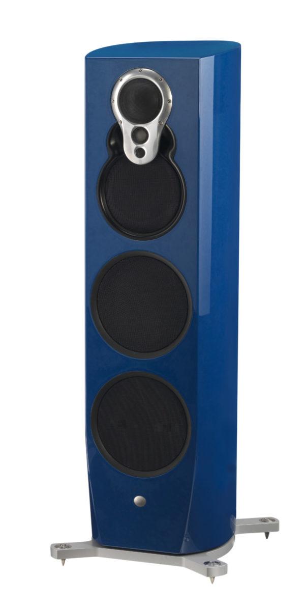 Linn Klimax 350 A Lautsprecher high end audio blau glanz von vorne