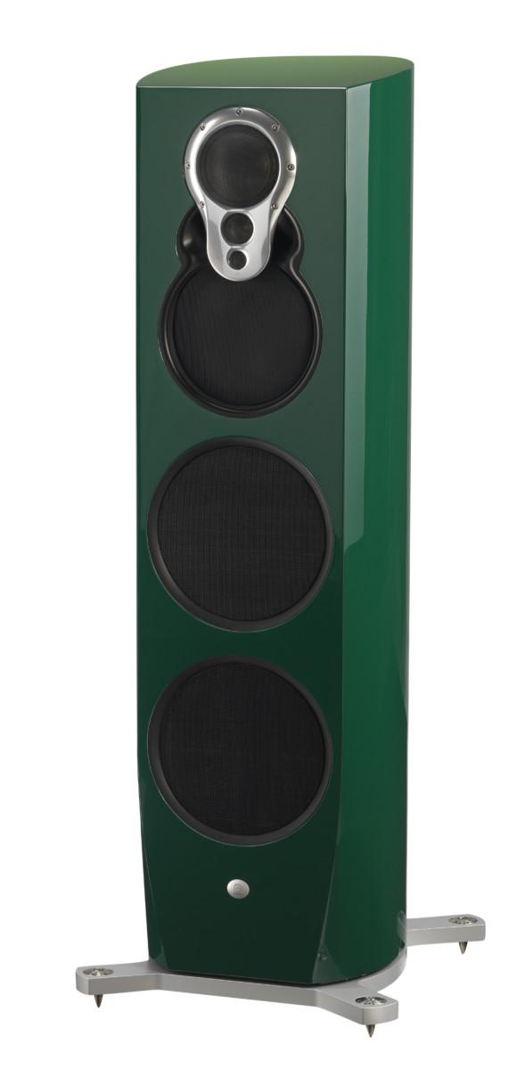 Linn Klimax 350 A Lautsprecher high end audio grün glanz von vorne